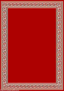 5x7 Area Rug Modern Greek Key Design Solid Red Carpet With