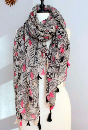 Women/'s Beach Sarong Bikini Cover up Pareo Tassels Summer pink black prints