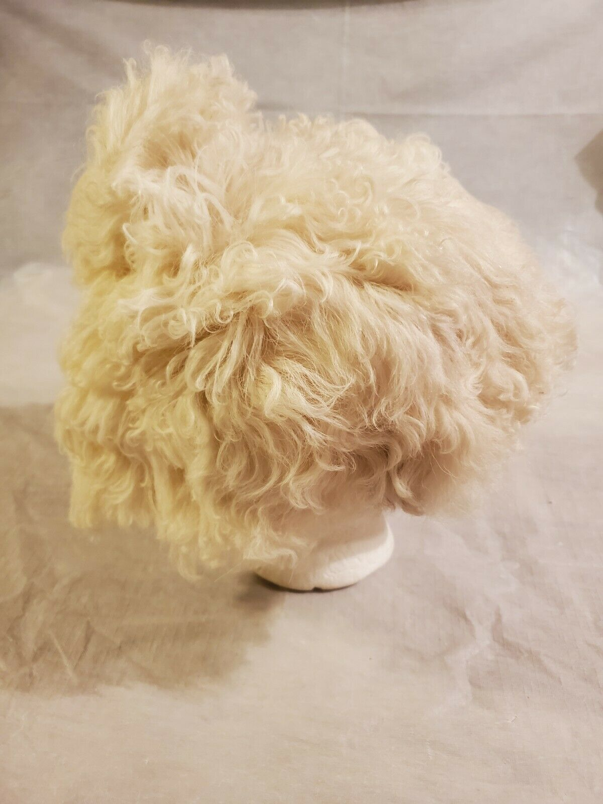 HALSTON HAT Shearling Mongolian Lamb With pompom … - image 1