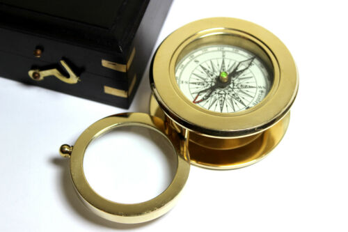 Map Reading Compass-W HardWood BOX Solid Brass Compass with magnifying Glass