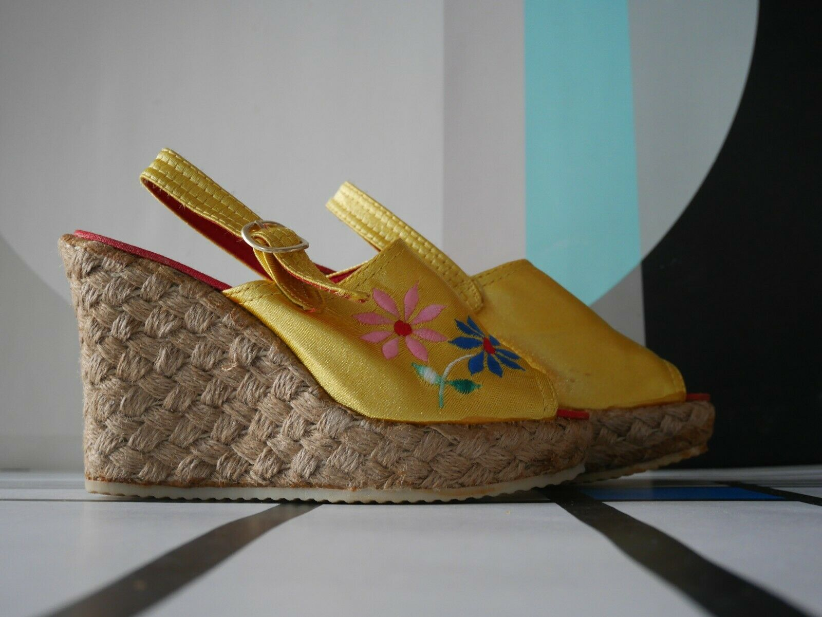 Bast-Sandale Keilabsatz 70er Flower Power Boho 37 Hippie TRUE VINTAGE wedges 70s