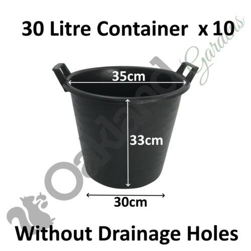 10 x 30 Litre Plant Tree Pot Handles Heavy Duty 30L Lt Big Large WITHOUT HOLES