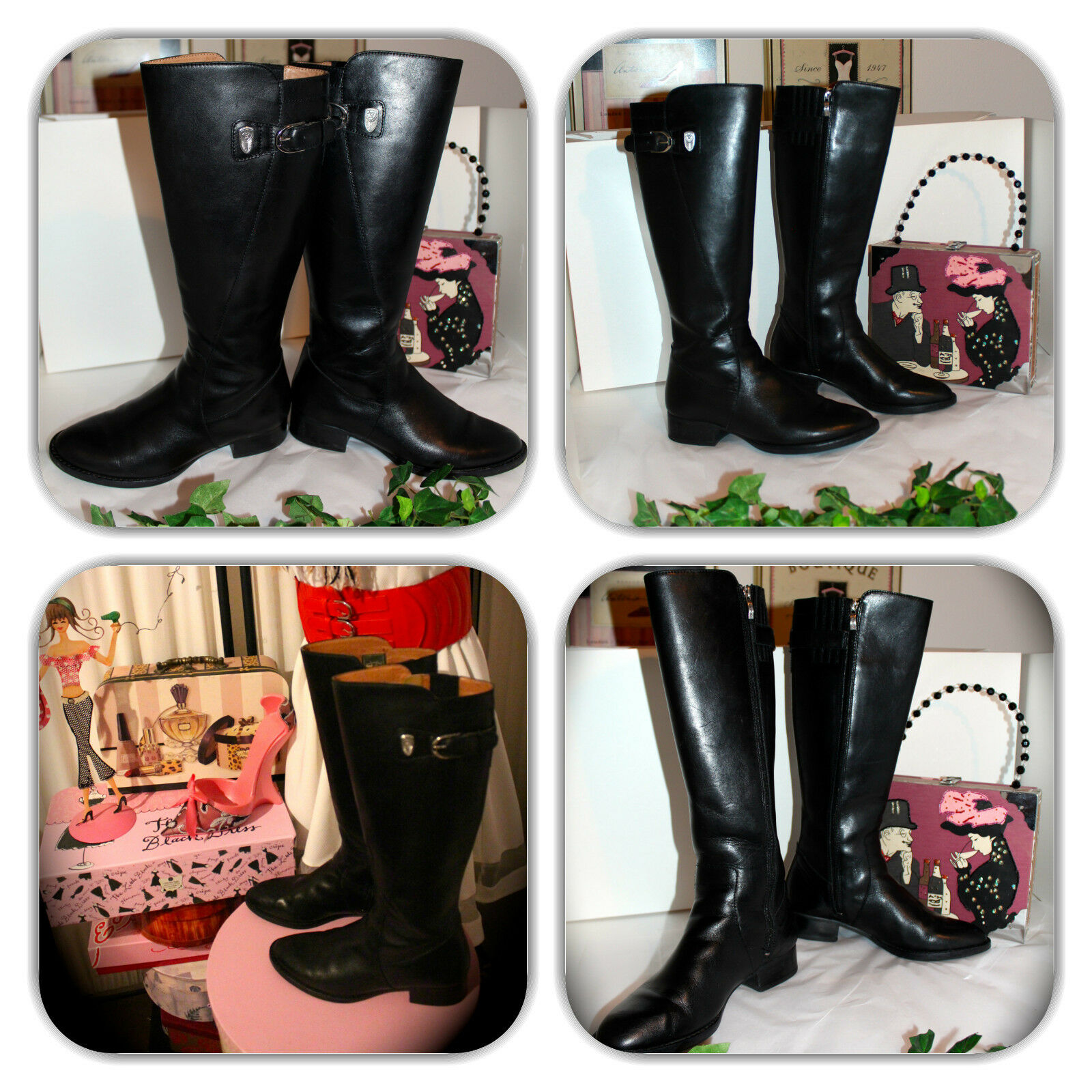 SOPHISTICATED ARIAT BLACK LEATHER LONG RIDING BOOTS! (7B)