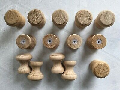 Eiche 20 St roh Ø ca Möbelknöpfe aus Holz 30 mm x Höhe 34 mm mit M4 x 8mm