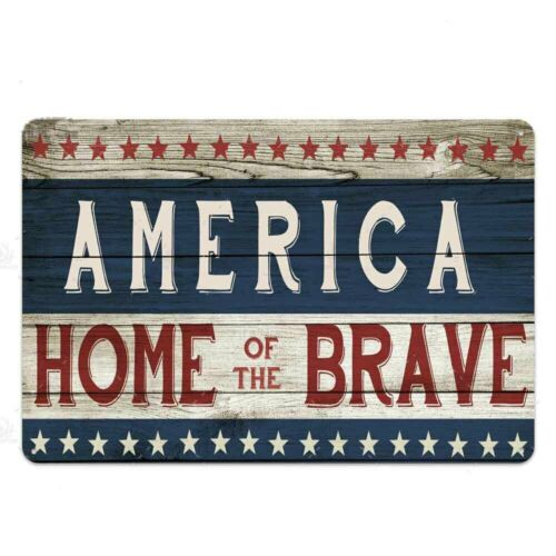 """TIN SIGN America Home Of The Brave 8/""""x12/"""" Metal Plaque Decor Wall Store Shop"""