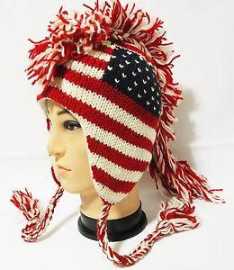 Team USA american flag Mohawk Hat beanie Pilot handmade 100% Wool ... 7eb03f26067