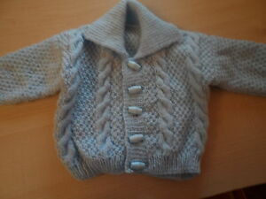 f6516bdae65b Hand knitted baby boy cable cardigan 0-3 to 6-12 months blue
