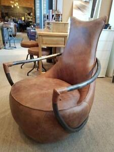 Miraculous Details About Maison Retro Leather Chair Semi Aniline Hide On A Stunning Retro Accent Chair Dailytribune Chair Design For Home Dailytribuneorg