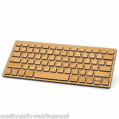 UK Stock Bamboo Wooden Utra-thin Bluetooth Rechargeable Desktop Slim Keyboard