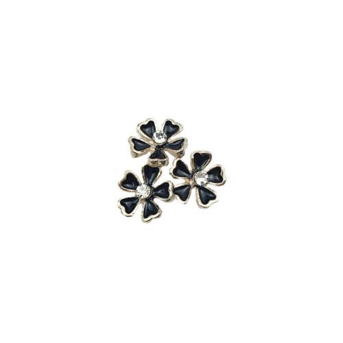 10Pcs Alloy Rhinestone Three Flowers Embellishments for Crafts Decorations 20 mm