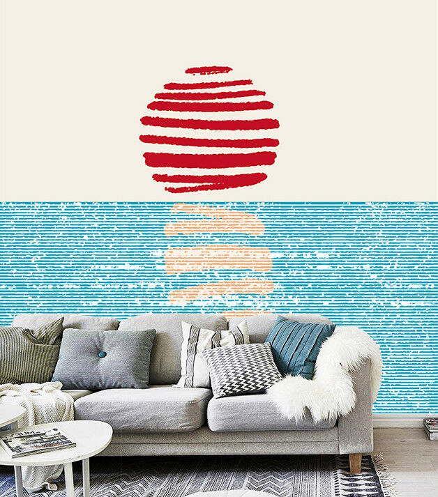3D Striped Sun Sea 7 Wall Paper Murals Wall Print Wall Wallpaper Mural AU Summer