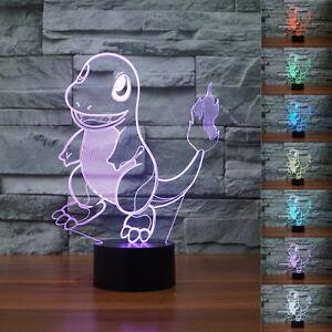New 3D Pokemon Go Charmander Night Light 7 Color Change LED Desk Table Lamp$