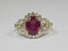 14k Yellow Gold Oval Shaped Red Ruby And Round White Diamond Halo Ring Size 6.25
