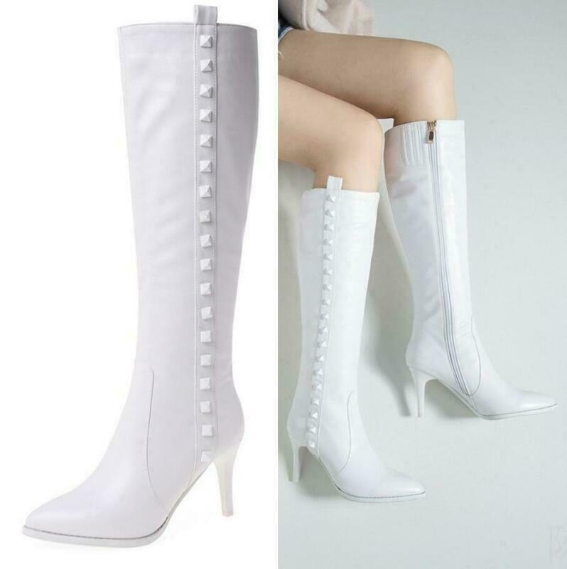 Womens Rivet Pointy Toe Studded Stiletto Mid Heel Mid Calf Zip Riding Boot Shoes