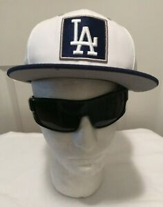 Rare-New-Era-59Fifty-MLB-Box-LA-Dodgers-Blue-amp-White-Box-LOGO-Flat-Bill-Hat