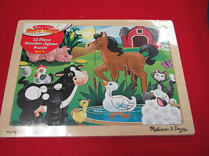 Melissa & Doug 2934 - 12-piece Wooden Jigsaw Puzzle - On the Farm Ages 3+