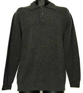 Robert-Kirk-Cable-Car-Clothiers-Lambs-Wool-Polo-Gray-Knit-Sweater-Mens-Size-XL