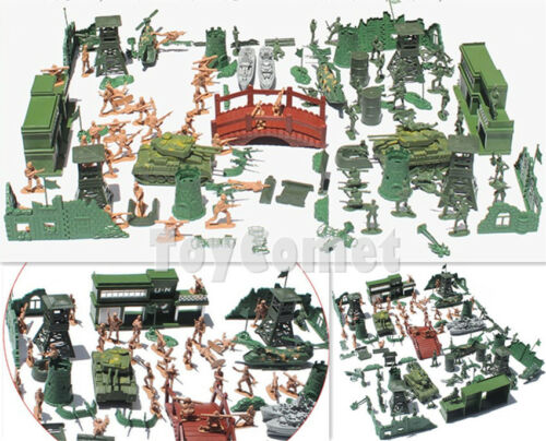 130 pcs Military Playset Plastic Toy Soldiers Army Men 5cm Figures /& Accessories