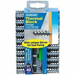 Plasplugs Thermique Bloc Fixations Pack 40 en Plastique Nylon Fixations SSCP 558