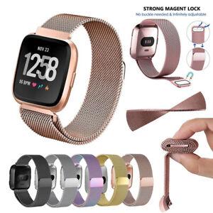 Pour-Fitbit-Versa-Watch-Acier-inoxydable-Metal-Bracelet-de-Montre-Strap-Bands