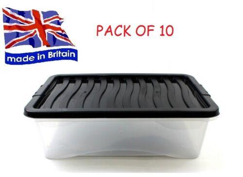 Pack de 10 32 L 32 L sous-lit sous le lit boîtes de rangement made in UK