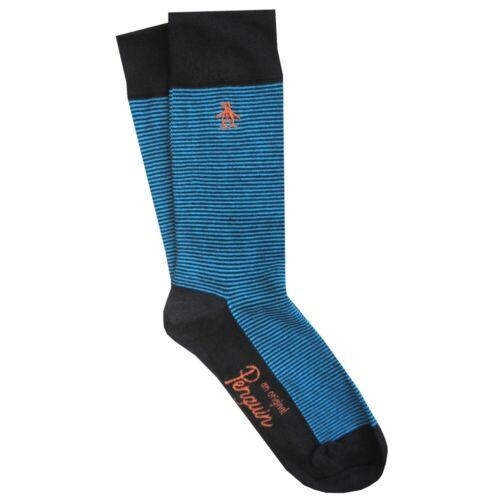 ORIGINAL PENGUIN Mens Black Teal Blue Full Stripe Tipped Socks UK 7-11 EU 41-46