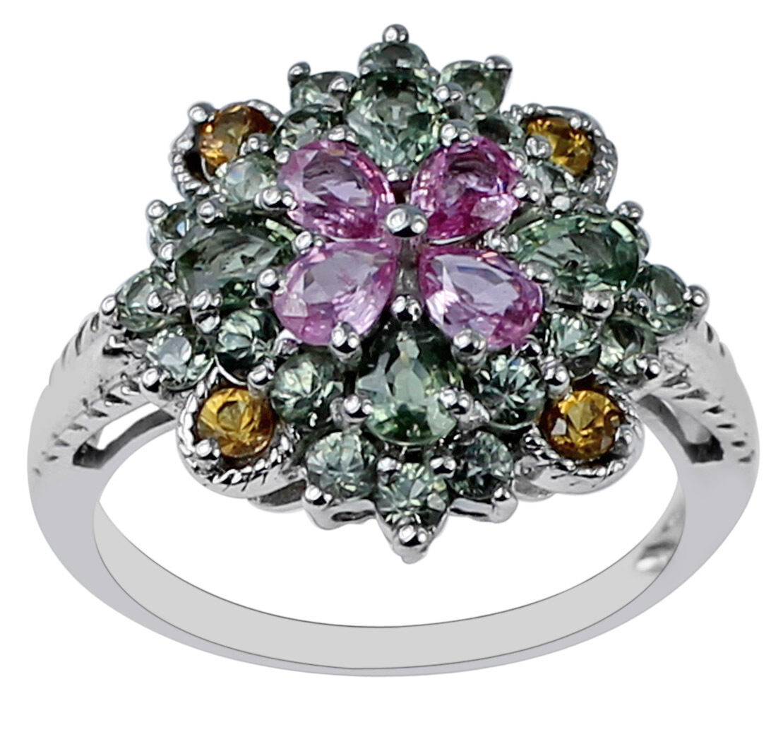 Multi Sapphire 2.85 Ct. Women Gift Ring Solid gold Christmas Gift Top Jewelry