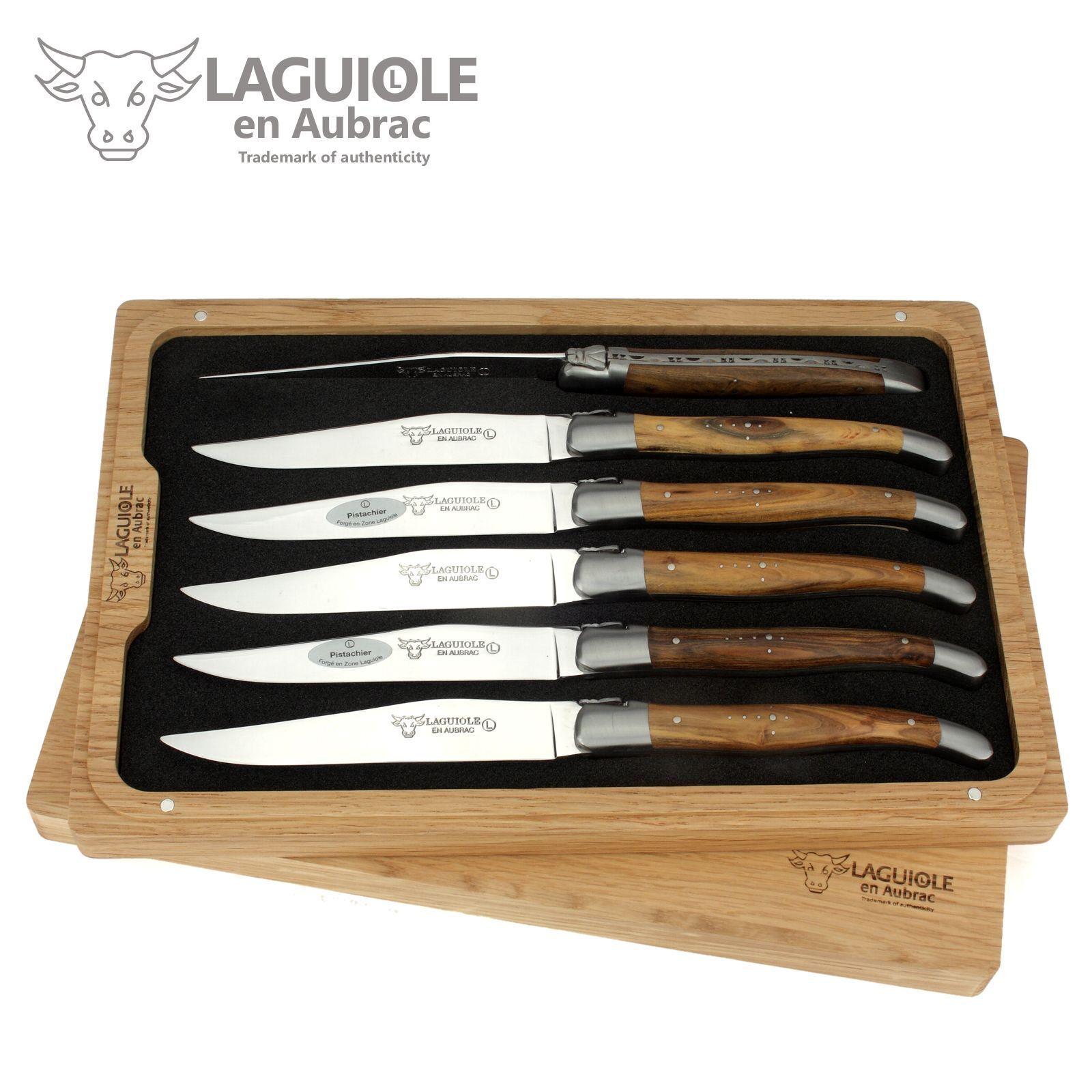 Laguiole en Aubrac Couteau à viande - 6er set-pistache-tableau-couteau France