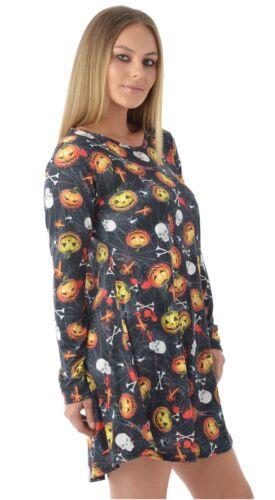 Womens Halloween Bloody Pumpkin Multi Bat Graves Owl Print Swing Dress 8-26