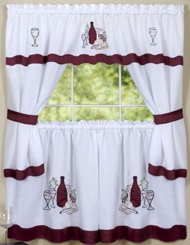 CABARNET by Achim Kitchen Curtains Embellished Cottage Set Wine /& Grapes
