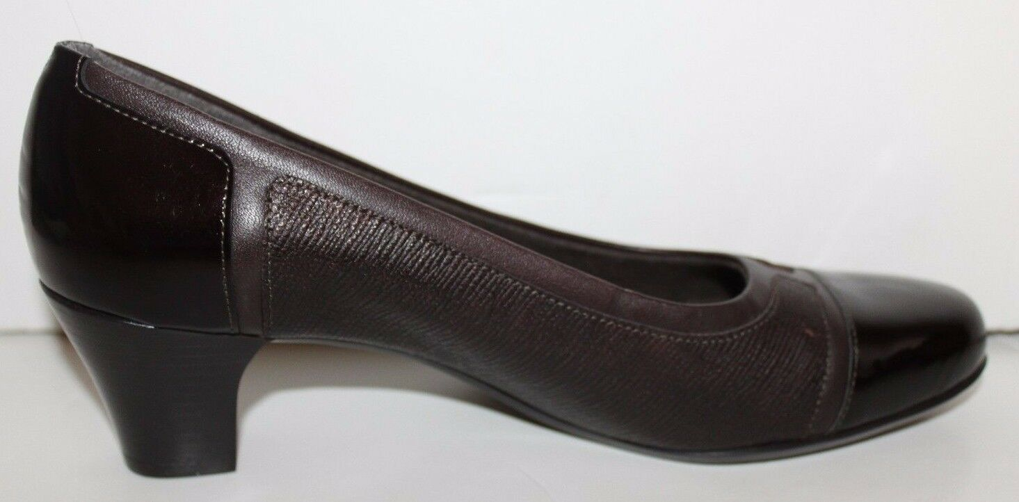 Munro NWOB Women's 8 N N N Brown Leather & Patent Pieced Pumps - Made in USA 0fb15a