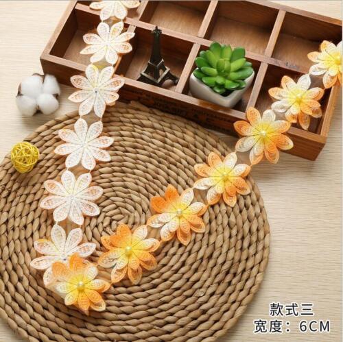 1Y Multicolore Perles Couche Double Fleurs Dentelle à Coudre Vêtements À faire soi-même accesories