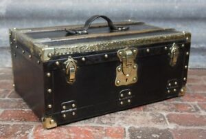 Rare-Unusual-Antique-French-Suitcase-Trunk-Drop-Down-Front