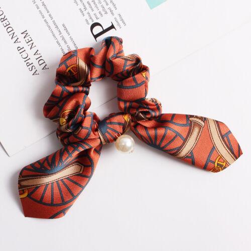 Women Bowknot Scrunchies Pearl Bow Hair Rope Elastic Bunny Ears Hair Rubber Band