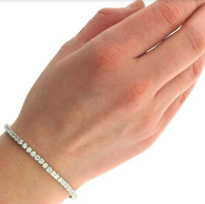 Details about 18K White Gold Filled Made With Crystal Round Heart Tennis  Bracelet