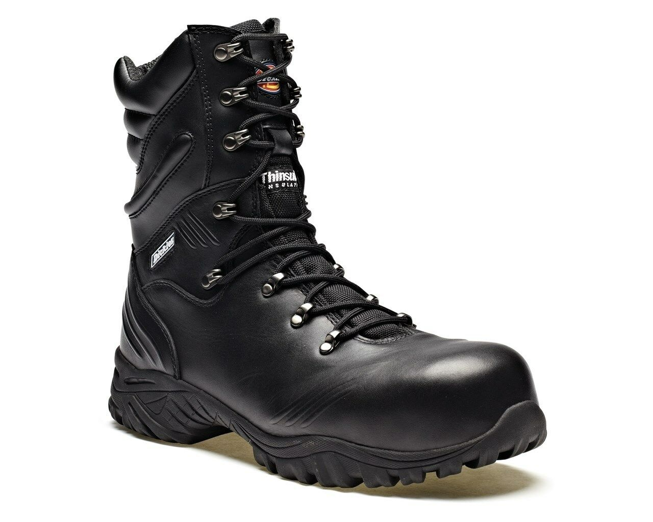 DICKIES URBAN HI SAFETY WORK BOOTS LEATHER FC9507 BLACK