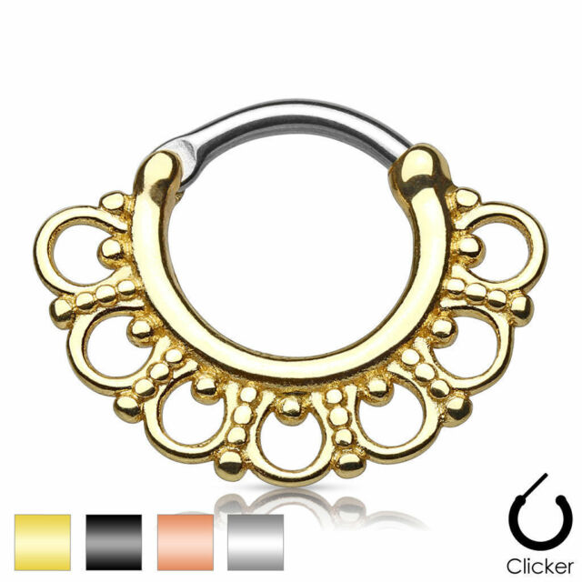 Surgical Steel Septum Clicker Nose Rings Lip Nose Piercing 316L Body Ring Stud