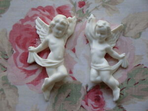 Architectural & Garden Cherubs Pair L/R Facing Furniture Applique Architectural Plaque