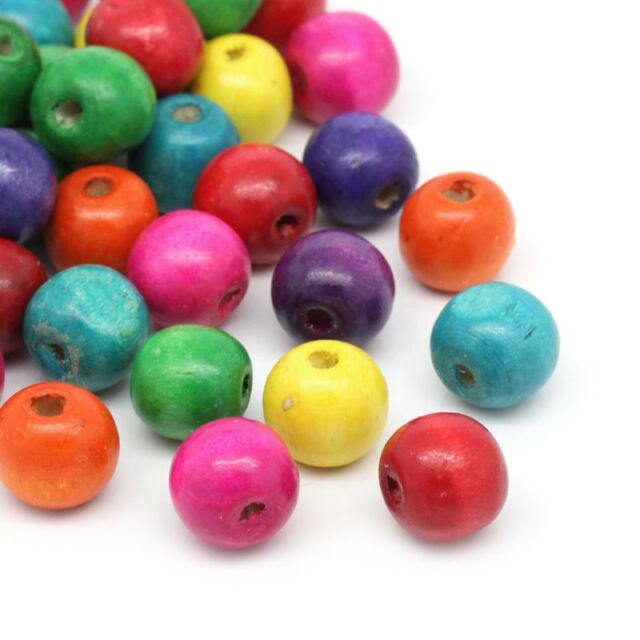 200 Perles Intercalaire en Bois Rond Multicolore 14x13mm