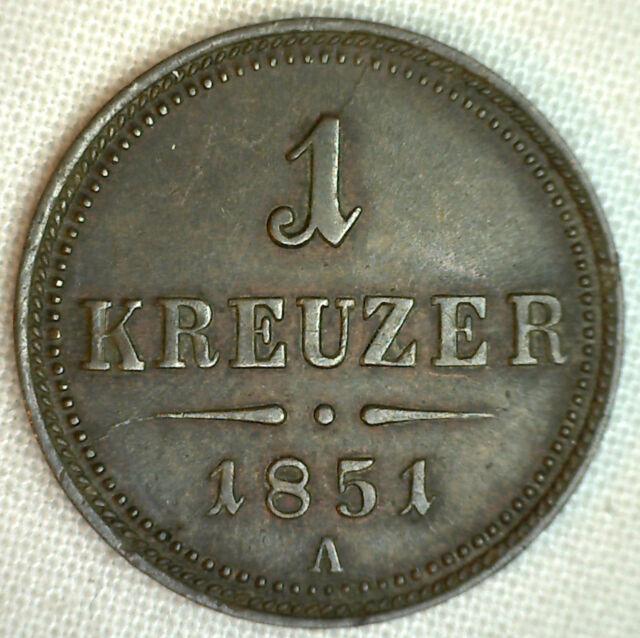 1851A AUSTRIA KREUZER AU KM# 2185 COBRE MUNDIALES MONEDA #P