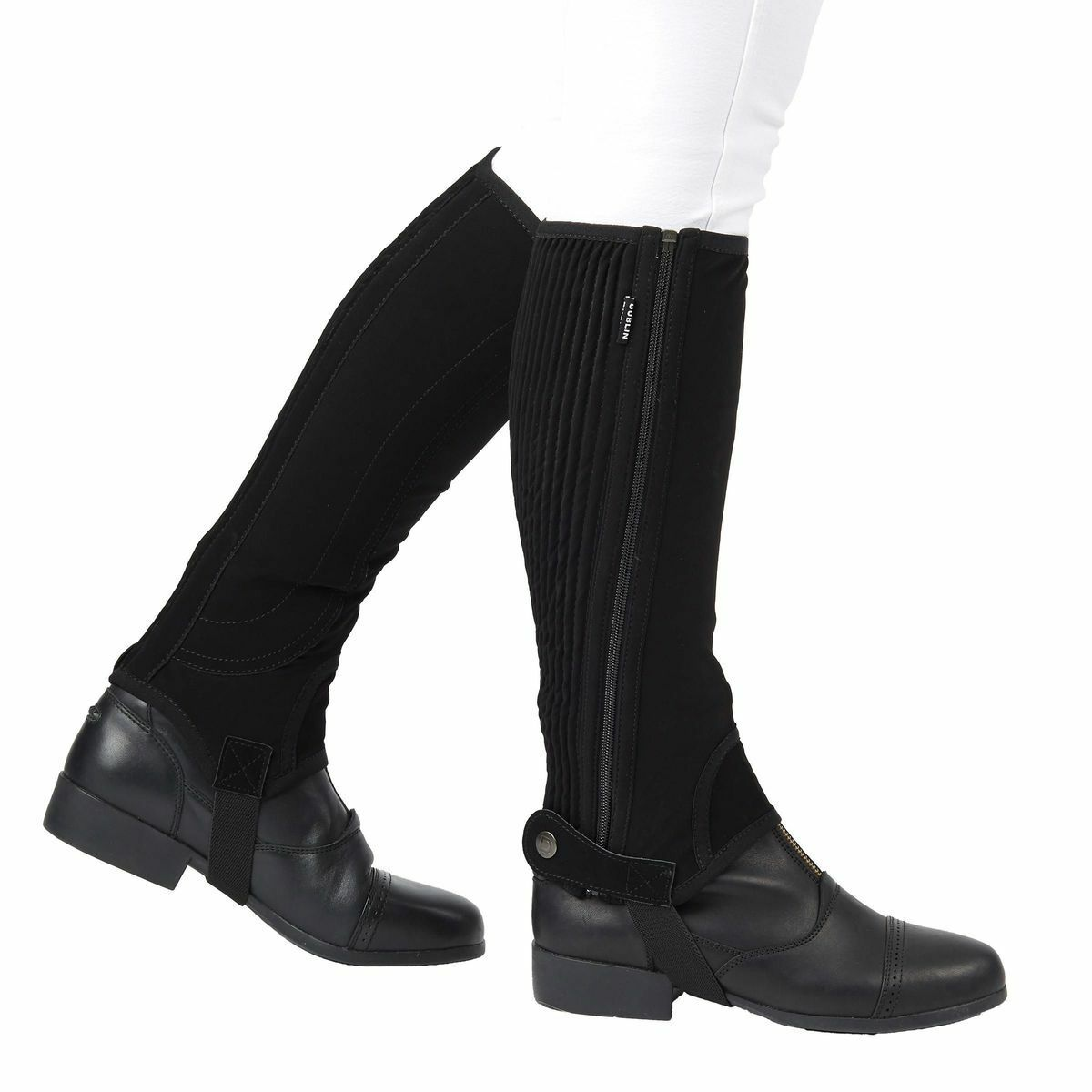 Dublin Easy-Care Half Chaps II with Ribbed Elastic Calf Synthetic Suede