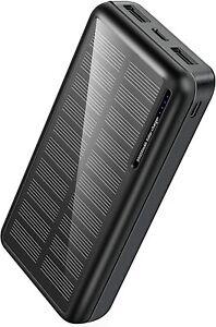 Power Bank Solare Caricabatterie Portatile con 2 Uscite da 30000 mAh, Nero