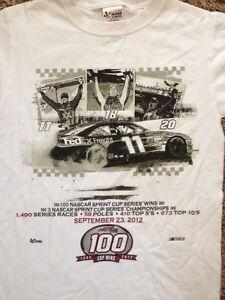 RARE Denny Hamlin Joe Gibbs Racing 100 Cup Wins Sept 23, 2012 Small Team Shirt