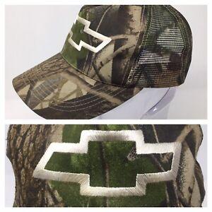 REAL TREE CAMO TRUCKER CHEVROLET RACING HAT CAP ADJUSTABLE CHEVY LOGO TAN