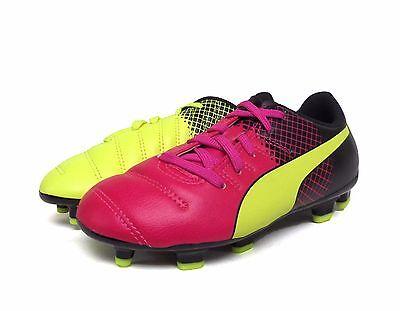 Puma Evopower 4.3 TRICKS FG Jr PNK Glo//Safe YLLW Soccer Shoe 103624 01 PS//GS