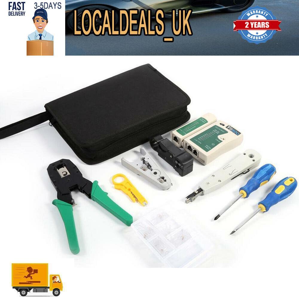 19Pcs Crimp Punch Plier Tool Data Network LAN PC Cable Tester Kits For RJ45 RJ11