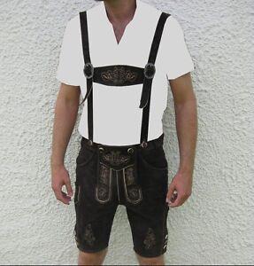 neu-bayrische-Trachtenlederhose-Lederhose-kurz-Hosentraeger-Stickerei-Pulsz