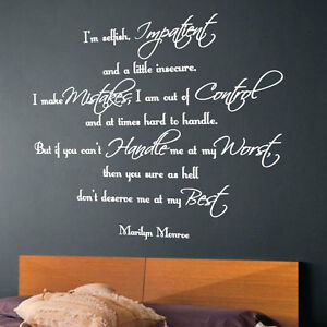 Image Is Loading MARILYN MONROE Wall Art Quote Wall Stickers Word