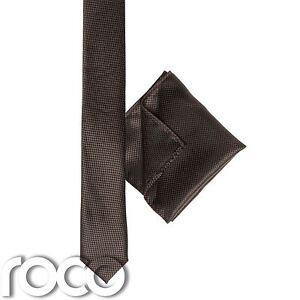 Boys Brown Pocket Square, Boys Brown Tie, Skinny Tie, Snake Skin Tie