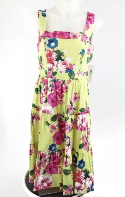 230308aa8e91e Eliza J Womens Square Neck Floral Tiered Fit Flare Midi Dress Size 10 Yellow